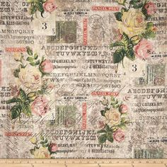 Tim Holtz Eclectic Elements Wall Flower Rose Parcel Multi from @fabricdotcom  Designed by Tim Holtz, this cotton print is perfect for quilting, apparel and home decor accents. Colors include black, red, orange, pink, cream, yellow, blue, shades of grey, shades of brown, and shades of green.