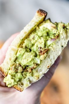 This Chicken Bacon Avocado Salad Sandwich is made with only 5 simple ingredients and is the perfect use of any leftover cooked chicken you have on hand. It's easy, creamy, and delicious! Layer between bread, use as a dip for your favorite crackers, or just eat it plain! #projectmealplan #avocadosalad #sandwiches #chickenbacon #avocadosaladsandwich