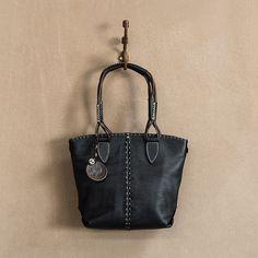 Kwenzi Las Leather Per Handbag In Ghost Cayak Tsonga