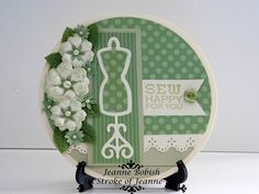 Handmade  Sew Happy For You Green Round Greeting Card A Stroke of Jeanne-ius #AStrokeofJeanneius #Congratulations