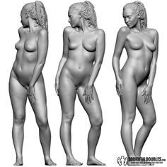 3D Head and Body Scanning for 3D Character Design | Female Body Scan; 3502-111, Gray Scale