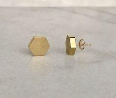 Hexagon Earrings 14K Gold Stud Earrings Geometric Earrings