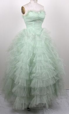 1950's pale pistachio strapless tulle tiered dress