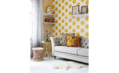 papel pintado dots yellow