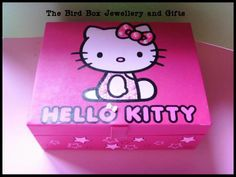 Hand embellished Hello Kitty jewellery box, filled with hand crafted jewellery.  This Hello Kitty jewellery box was made for  special little girls birthday xx