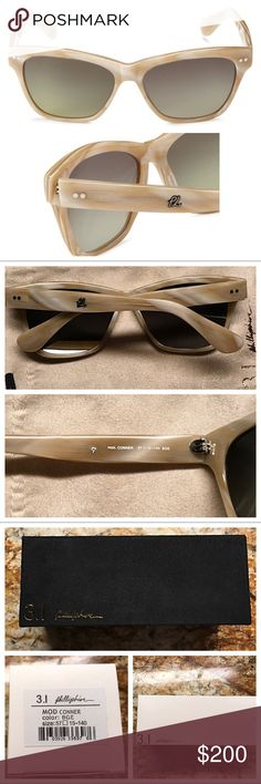 3.1 PHILLIP LIM OVAL WAYFARER CONNER SUNGLASSES NWT Authentic 3.1 Phillip Lim Conner Oval Wayfarer style sunglasses. Gold embossed suede box with suede gold embossed drawstring pouch. Imported. 100 % UV protection coating. Lens width: 57 millimeters- Lens height: 42.7 millimeters Bridge: 15 millimeters. Arm: 140 millimeters. Enjoy! 3.1 Phillip Lim Accessories Sunglasses