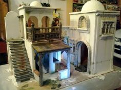 Foro de Belenismo - Arquitectura y paisaje -> Casas Diy Nativity, Christmas Nativity Scene, Miniature Crafts, Miniature Houses, Buildings Artwork, Arched Doors, Stage Design, Diy Dollhouse, Little Houses