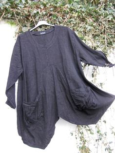 SARAH SANTOS QUIRKY BALLOON LINEN TUNIC TAUPE BLACK OATMEAL PLUS SIZE LAGENLOOK   eBay