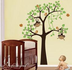 Items similar to Baby Nursery Wall Decals Nursery Jungle Monkey Tree Vinyl Wall Decal - on Etsy Kids Wall Decals, Nursery Wall Decals, Nursery Room, Boy Room, Nursery Decor, Kids Room, Nursery Ideas, Wall Stickers, Babyroom Ideas