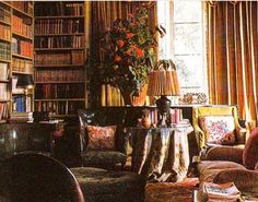 Amazing blend of fabrics and textures - PG - Nancy Lancaster library at Haseley Court.
