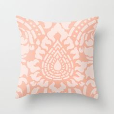 Damask Peach Throw Pillow Pastel Home Decor By by AldariHome, $35.00