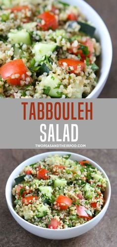 The tabbouleh salad recipe is a Middle Eastern salad made from bulgur wheat tomatoes, cucumber and fresh herbs! This healthy salad is dressed in fresh lemon juice and olive oil. Season with a little salt and pepper and you& good to go! Health Salad Recipes, Green Salad Recipes, Cucumber Recipes, Salad Dressing Recipes, Healthy Recipes, Easy Recipes, Middle Eastern Salad Recipe, Middle Eastern Salads, Middle Eastern Recipes
