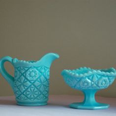 Turquoise Fostoria milk glass creamer and by OhMyMatilda on Etsy