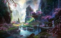 mountains landscapes cherry blossoms bridges fantasy art artwork waterfalls fan ming Wallpaper HD