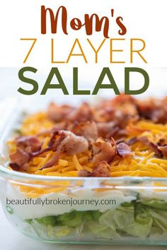 A family favorite recipe! My Mom's 7 Layer Salad is perfect for a get together for a fresh and crisp side dish! A family favorite recipe! My Mom's 7 Layer Salad is perfect for a get together for a fresh and crisp side dish! Lettuce Salad Recipes, Easy Salads, Healthy Salad Recipes, Summer Salads, Make Ahead Salads, Jello Salads, Fruit Salads, Healthy Foods, Layered Salad With Peas