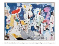 Untitled, 2014, Oil, enamel, spray paint, thumb tacks, and paper collage on canvas, 9 x 12ft  Eddie Martinez (via artist's website)