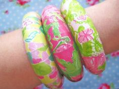 Lilly Pulitzer Pink and Green Handmade Bangles- would be a great way to uses pages of an old agenda!
