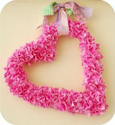 Fabric Scrap Valentine Heart Wreath