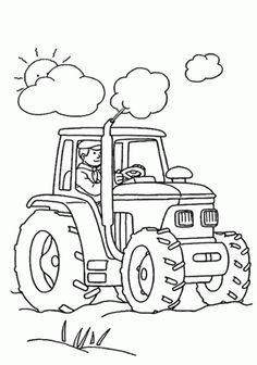 Dibujo de Tractor en el campo