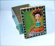 New! Frida  Original Mixed Media Handmade Jewelry Box by FlorLarios