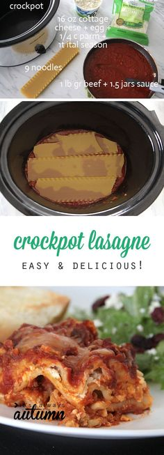 Did you know you can make lasagna in the crockpot? It's so easy, tastes delicious, and you don't have to heat up your entire kitchen. Great slow cooker recipe.
