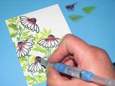 "Watercolor Card Idea using Memento Ink & Penny Black ""Petal Power"" Stamps | Imagine Crafts"