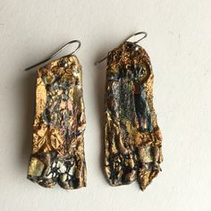 Forest earrings. Mixed media and friendly plastic. Made by Barbara Lees