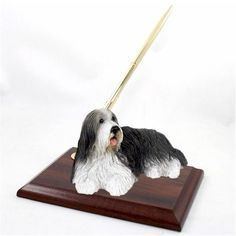 Realistic Hand Painted Bearded Collie Figurine on Desk Pen Holder