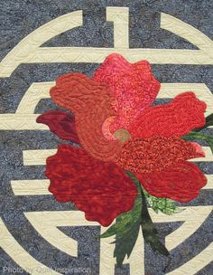 """close up, """"Harmony"""" by Katie Ammon and Vicki Kauth, quilted by Karolyn """"Nubin"""" Jensen. Center design by Geri Richardson. 2014 TQG, photo by Quilt Inspiration Applique Patterns, Flower Patterns, Quilt Patterns, Longarm Quilting, Art Quilting, Quilt Art, New York Beauty, Poppy Pattern, Quilting Tutorials"""