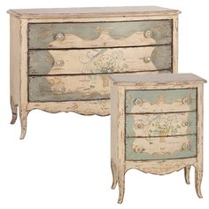 Hand Painted French Shabby Chest and Nightstand