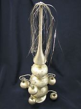 Antique Mercury Glass & Tinsel Christmas Tree Topper Ornate Victorian