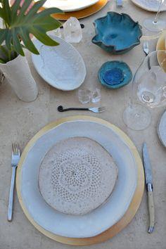 Personalized ceramic dinner  plates - Set of 4 white handmade ceramic tableware by Christiane Barbato  Please visit: www.BlueDoorCeramics.com