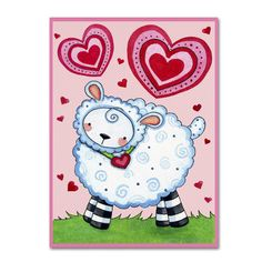 "Trademark Art 'Valentine Lamb' by Jennifer Nilsson Graphic Art on Wrapped Canvas Size: 47"" H x 35"" W x 2"" D"