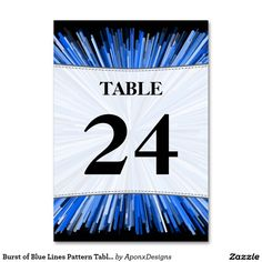 Burst of Blue Lines Pattern Table Number Cards Blue Lines, Line Patterns, Table Numbers, Finding Yourself, Card Holder, Cards, Nice, Design, Wedding Table Numbers