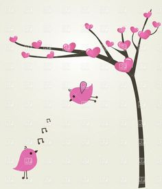 Two Love Birds And Tree Greeting Card This Image Is A Vector ...