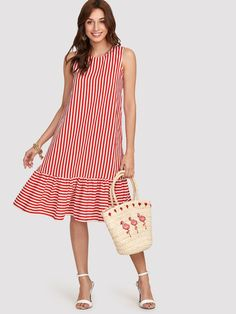 To find out about the Pinstripe Ruffle Hem Swing Dress at SHEIN, part of our latest Dresses ready to shop online today! Simple Dresses, Cute Dresses, Casual Dresses, Short Dresses, Girls Dresses, Summer Dresses, Red Fashion, African Fashion, Fashion Dresses