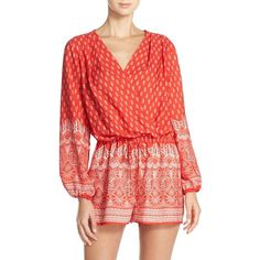 Women's Fraiche By J Print Long Sleeve Romper ($52) ❤ liked on Polyvore featuring jumpsuits, rompers, mika red, red rompers, patterned romper, long-sleeve romper, boho romper and long-sleeve rompers