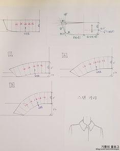 Y-칼라 제도법 : 네이버 블로그 Clothing Patterns, Sewing Patterns, Collar Pattern, Pattern Drafting, Pattern Making, Planer, Charts, Blog, How To Make