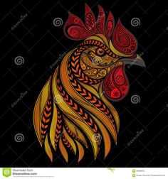 Vector Fiery Rooster On New Year's Stock Illustration - Image: 68580625