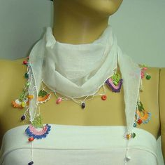 Crocheted WHITE scarf with handmade multi color oya flowers