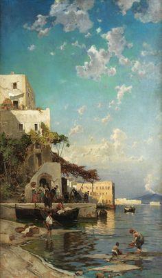 Hermann David Salomon Corrodi (1844-1905)  Incontro serale di pescatori in una taverna di Mergellina a Napoli, ca. 1905  Olio su tela, 164 x 98 cm Coll.privata