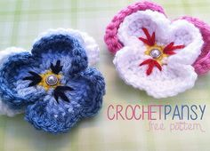 So beautiful and so much fun to make! A crochet flower lends itself to many decorative uses — they look fabulous on clothing and around the house — and these pansies are especially love…