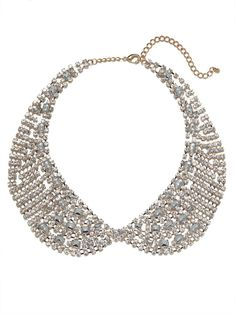 HWTF x Bauble Bar gold crystal mesh collar