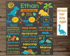 First Birthday Chalkboard first birthday dinosaur by InJOYPrints