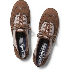 Keds Champion Brogue ($60) ❤ liked on Polyvore featuring shoes, oxfords, tan, keds, oxford shoes, tan oxfords, keds footwear and lace up oxfords