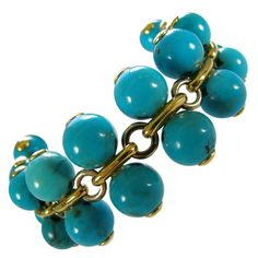 Turquoise Gold Bracelet Italy c1970 | From a unique collection of vintage link bracelets at http://www.1stdibs.com/jewelry/bracelets/link-bracelets/