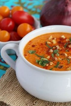 Roasted Sweet Corn and Tomato Soup, my absolute FAVORITE summer soup!  Made with fresh corn and tomatoes, it's so amazing! Pin Today!