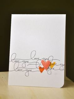 Simple and sweet. Love the repeated sentiment and the tiny hearts. Stamp thank you instead of love. Valentine Day Cards, Holiday Cards, Tarjetas Diy, Love Cards, Card Tags, Paper Cards, Creative Cards, Anniversary Cards, Greeting Cards Handmade