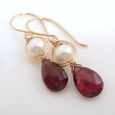 Garnet and Pearl Earrings Gold Fill, January Birthstone Gemstone Jewelry, Handmade Dangle Earrings, aubepine Bridal Earrings, Beaded Earrings, Bridal Jewelry, Gemstone Jewelry, Jewelry Gifts, Beaded Jewelry, Jewelery, Pearl Earrings, Garnet Gemstone