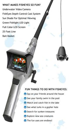 FishEyes Rod & Reel with Underwater Video Camera - Cool Gadget, Spy Gear for Kids, Fishing Pole For Kids(Cool Gadgets) Cool Technology, Technology Gadgets, Spy Gear For Kids, Spy Gadgets For Kids, Underwater Video Camera, Life Hacks Diy, Gadgets And Gizmos, High Tech Gadgets, Cool Stuff